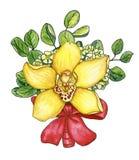 Boutonniere a mano con la orquídea, waxflower, ramitas del eucalyp Imagen de archivo libre de regalías
