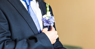 Boutonniere maravilhoso do casamento em um traje do close-up do noivo imagens de stock