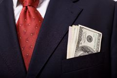 Boutonniere with money Stock Photos