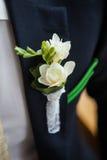 Boutonniere op de revers van de bruidegom Royalty-vrije Stock Afbeeldingen