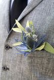 Boutonniere in the pocket of the suits of the groom of eucalyptus and Eryngium Stock Photography