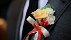 Boutonniere on the suit of the groom. Close up stock video