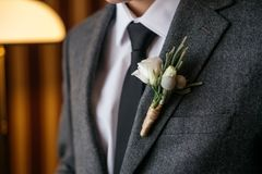 Boutonniere on the suit of the groom, closeup. Boutonniere on the suit of the groom, cropped image. Wedding day royalty free stock photography