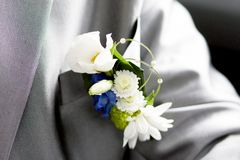 Boutonniere on a suit stock photos