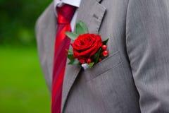 Boutonniere sur le costume gris Photographie stock libre de droits