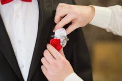 Boutonniere sur le marié à la mode au mariage Images libres de droits