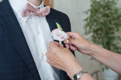 Boutonniere on trendy groom at wedding Stock Photos