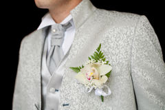 Boutonniere in tuxedo royalty free stock images