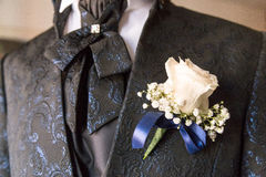 Boutonniere in tuxedo. Lapel for groom royalty free stock photography