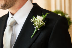 Boutonniere in tuxedo royalty free stock photos