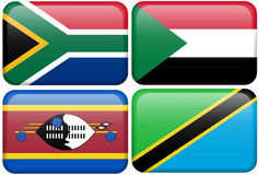 Boutons africains : S. Afrique, Soudan, Swazi, Tanzanie Image stock