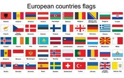 Boutons avec des drapeaux de pays européens Images libres de droits