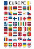 Boutons avec des indicateurs de l'Europe Photographie stock libre de droits