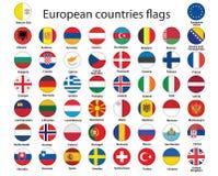 Boutons avec des indicateurs de l'Europe illustration stock