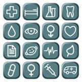 Boutons avec des symboles médicaux Photos libres de droits