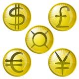 Boutons avec des symboles monétaire Photos libres de droits