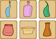 Boutons : bacs et bouteilles Photographie stock