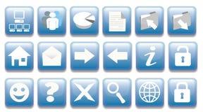 Boutons bleus Photos libres de droits