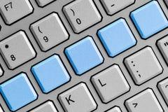 Boutons bleus vides sur le clavier Photos libres de droits