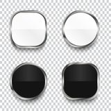 Boutons brillants noirs et blancs d'isolement sur le fond transparent illustration de vecteur