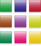 9 boutons carrés Image stock