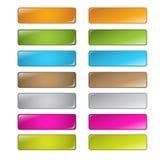 Boutons carrés arrondis lustrés multicolores de vecteur Photographie stock