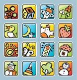 Boutons carrés avec des illustrations Photographie stock