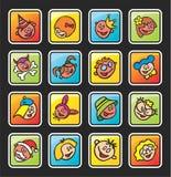 Boutons carrés avec des visages des enfants Images libres de droits