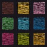 Boutons carrés de griffonnage - icônes colorées de vecteur - d'isolement sur le fond noir illustration libre de droits