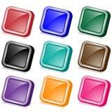 Boutons carrés de Web pêchés Images stock