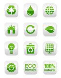 Boutons carrés lustrés verts réglés Image libre de droits