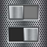 Boutons carrés marche-arrêt de glisseur Boutons d'interface de commutateur en métal sur le fond perforé illustration stock