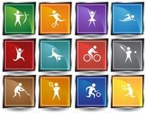 Boutons carrés sportifs Photo libre de droits