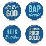 Boutons chrétiens de cru, bleus Images stock