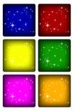 Boutons colorés avec des étoiles Photos libres de droits