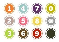 Boutons colorés de nombre réglés Photos libres de droits