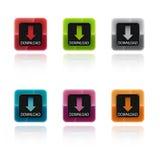 Boutons colorés de téléchargement Photos stock