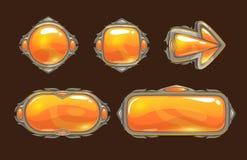 Boutons décoratifs oranges de bande dessinée illustration stock