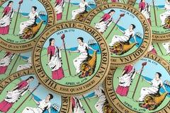 Boutons d'état d'USA : Pile de l'illustration du nord de Carolina Seal Badges 3d illustration libre de droits