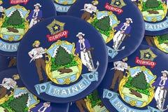 Boutons d'état d'USA : Pile d'illustration de Maine Flag Badges 3d illustration libre de droits