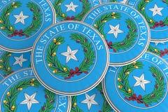 Boutons d'état d'USA : Pile d'illustration de Texas Seal Badges 3d illustration de vecteur