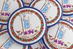 Boutons d'état d'USA : Pile d'illustration de Virginia Flag Badges 3d illustration de vecteur