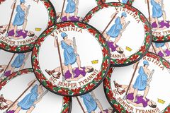 Boutons d'état d'USA : Pile d'illustration de Virginia Seal Badges 3d illustration de vecteur