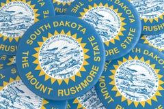 Boutons d'état d'USA : Pile d'illustration des insignes 3d de drapeau du Dakota du Sud illustration libre de droits