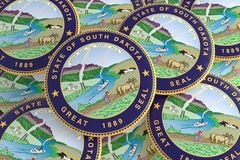 Boutons d'état d'USA : Pile d'illustration des insignes 3d de joint du Dakota du Sud illustration de vecteur