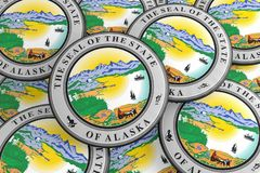Boutons d'état d'USA : Pile d'illustration des insignes 3d de joint de l'Alaska illustration de vecteur