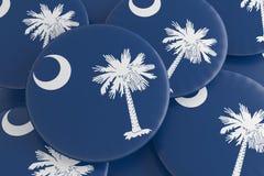Boutons d'état d'USA : Pile d'illustration du sud de Carolina Flag Badges 3d illustration libre de droits