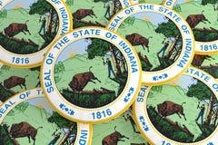 Boutons d'état d'USA : Pile d'illustration d'Indiana Seal Badges 3d illustration libre de droits