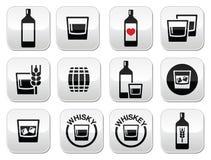 Boutons d'alcool de whiskey ou de whiskey réglés Photos libres de droits