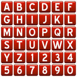 Boutons d'alphabet de grand dos rouge Photographie stock libre de droits